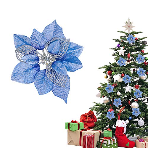 TopLAD(Pack of 12 Christmas Glitter Poinsettia Artificial Flowers Christmas Tree Ornaments Decorations (Blue)