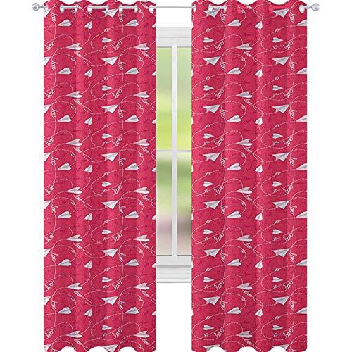 YUAZHOQI Cortina opaca para ventana, diseño romántico con palabras de amor, corazones enredados líneas de papel, para sala de estar, 132 x 241 cm, color blanco coral oscuro