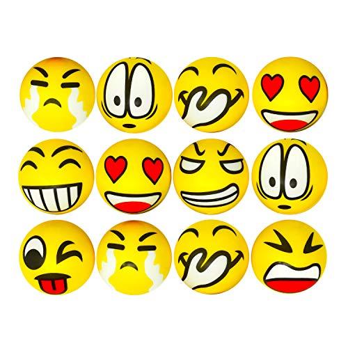 Oblique Unique® 12 Stück Smiley Ball Grimassen Knautschball Antistressball Softball Bälle mit lustigen Gesichtern Schaumstoff Spielzeug