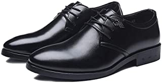 PengCheng Pang Formal Business Oxfords for Men Dress Shoes Lace up Microfiber Leather Pointed Toe Metal Decoration Waxed Laces Burnished Front (Color : Black, Size : 6.5 UK)