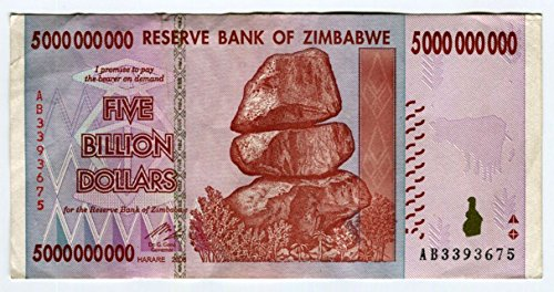 Simbabwe 5 Billion Dollar Banknote Bill Money Inflation Record Currency Note