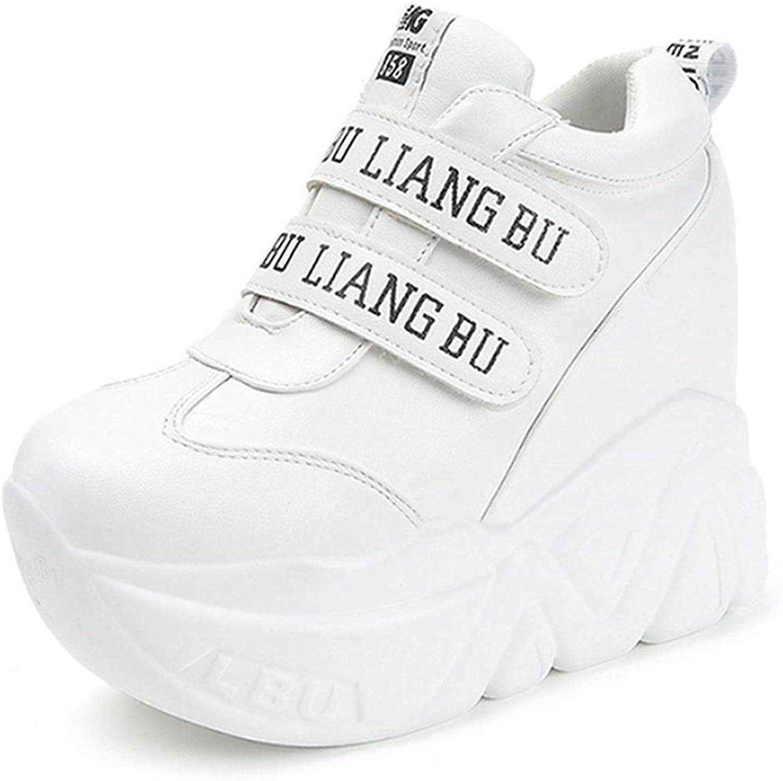 DOSOMI Women Wedge Sneakers Autumn High Heels 11 cm Hidden Increasing Platform Breathable PU Casual Comfortable Wedge Sneakers