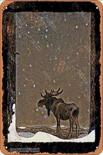Elch im Schnee, 20 x 30 cm, Retro-Look, Eisen-Dekoration für Zuhause, Küche, Badezimmer, Bauernhof, Garten, Garage, inspirierende Zitate