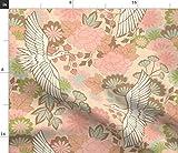 Spoonflower Stoff – Kraniche Frühling Mittelasiatische