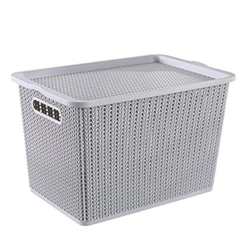 hmane cesta de almacenamiento, práctico Hollowed-out imitación funda de almacenamiento de ratán con tapa hogar organizador de juguetes Caja -, gris, Large