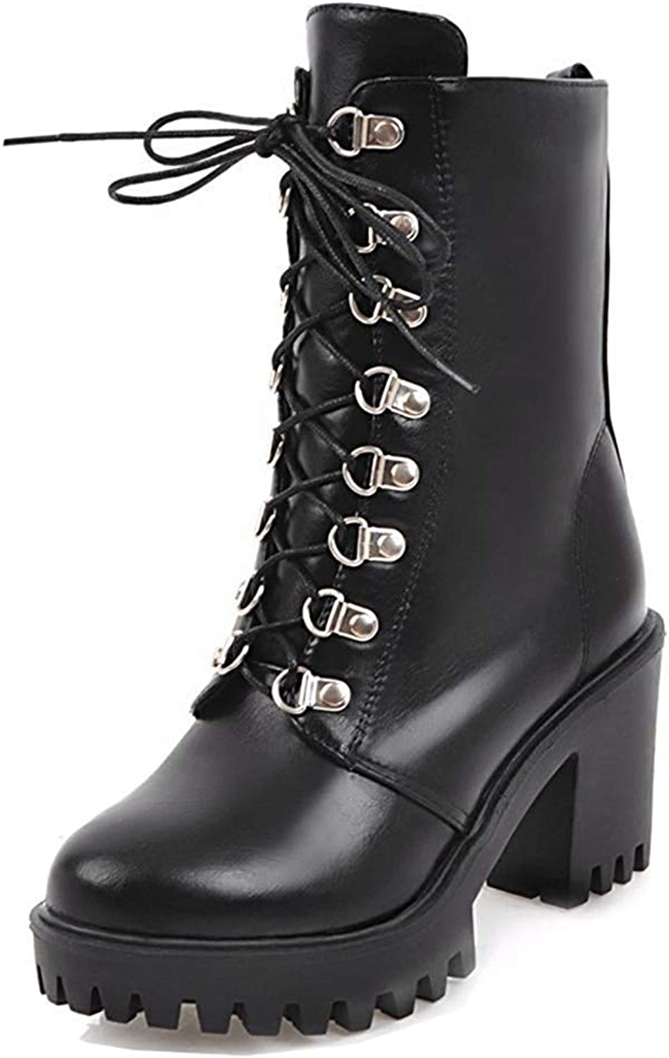 Women's Stylish Round Toe Platform Rider Boots Lace Up High Block Heel Ankle Booties