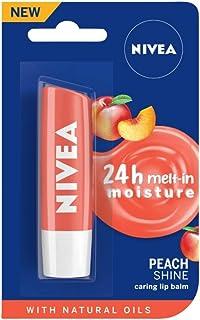 NIVEA Lip Balm, Fruity Peach Shine, 4.8g