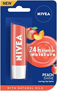 NIVEA Lip Balm, Fruity Peach Shine, 4.8g
