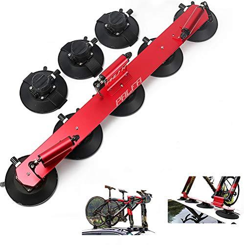 Yajun Portabicicletas con Ventosa Baca Techo para Bicicleta Aluminio Estante De Transporte Montaje Coche Piezas De Bicicleta,Red-3