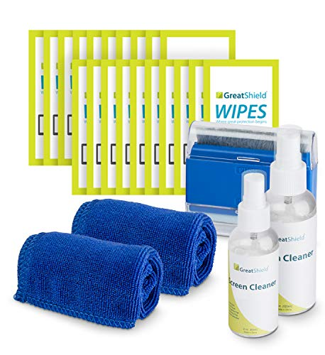 GreatShield Screen Cleaning Kit with 2 Bottle Solution (60ml and 120ml), 2 Microfiber Cloths, 20 Non-Alcohol Screen Cleaning Wipes, and Brush for Laptops, PC monitors, Smartphones, Tablets, TVs