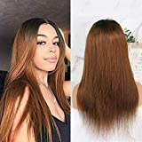 Human Hair Straight full lace wig 100% Real Brazilian Hair Ombre Black Roots 1B 30 Color 130% Density Wig For Black Women(20 Inch, lace frontal wig)
