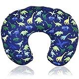 Dinosaur Nursing Pillow Cover, Breastfeeding Pillow Slipcover for Baby Boys & Girls, Nursing Pillow Case for Newborn, Soft Fabric Fits Snug On Infant, Washable & Breathable, Watercolor Dinosaur Blue