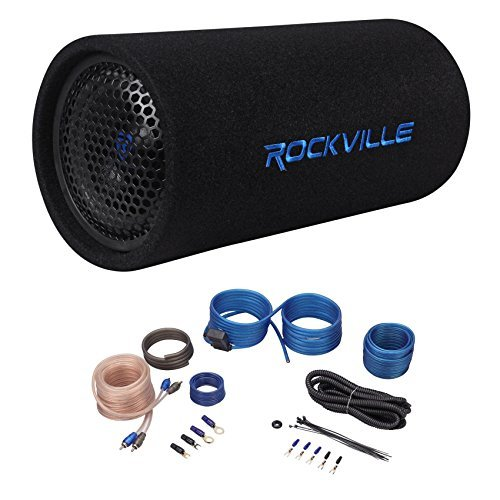 """Pyle PLTAB8 250 Watt High Powered Car Audio Sound Component Speaker Enclosure System w// 1.5/"""" Aluminum Voice Coil RCA 4 Ohm 35Hz-800Hz Frequency 8-Inch Carpeted Subwoofer Tube Speaker LED"""