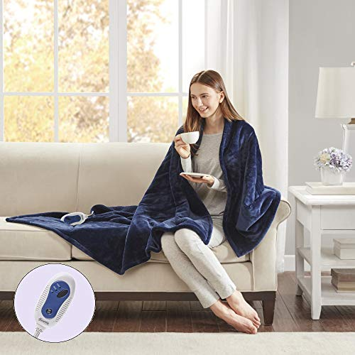 Beautyrest Plush Heated Electric Throw Blanket - Secure Comfort Technology Cozy Soft Microlight to...