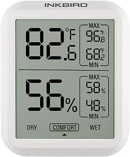 Inkbird ITH-20 Digital Thermometre Hygrometre avec Écran LCD,Min/Max Temperature Interieur Humidité Exterieur pour Cave a ...