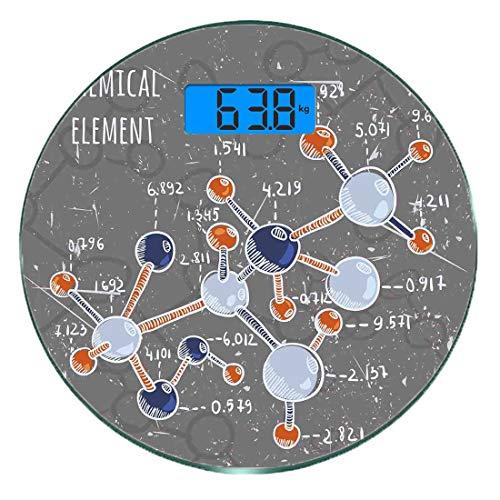 Escala digital de peso corporal de precisión Ronda Grunge Báscula de baño de vidrio templado ultra delgado Mediciones de peso precisas,Laboratorio de Química con Display Formula Science Graphic Design