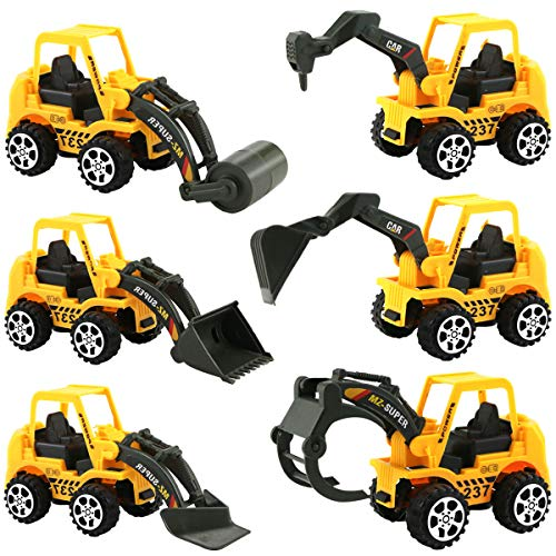 Twdrer 6 Pack Toy Construction Vehicles,Assorted Trucks Mini Car Toy,Small Kid Toys Mini Bulldozer Excavator Asphalt Car Toys for Children Kids Boys and Girls