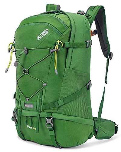 Terra Peak Flex 40 Wanderrucksack 40L für Herren und Damen mit Trinksystem grün Outdoorrucksack Wandern, Radfahren, Reisen, Sport wasserabweisendes Material...