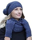 Hilltop - Set de bufanda, gorro y guantes o calentadores de brazo - para mujer/conjunto de invierno: azul con guantes.