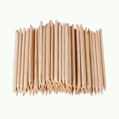 SYG Lot de 100 bâtons de manucure repousse-cuticules en bois d'oranger spécial Nail Art