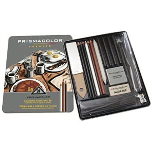 Prismacolor Premier 25 Piece Charcoal Sketch Set In Reusable Metal Tin