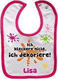 Baby Lätzchen mit farbigen Saum ICH KLECKERE NICHT, ICH DEKORIERE (weiss-pink)