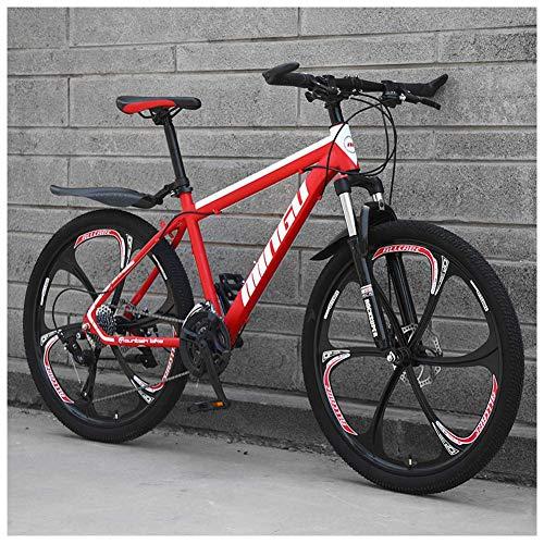 AMITD 26 Zoll Mountainbike, Scheibenbremsen Hardtail MTB, Trekkingrad Herren Bike Mädchen-Fahrrad, Vollfederung Mountain Bike,24 Speed,Red 6 Spoke