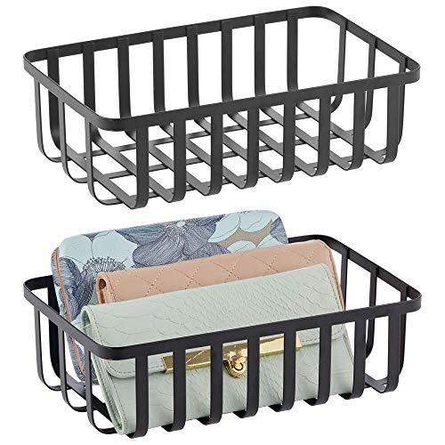 mDesign 2er-Set Metall Ablagebox – Aufbewahrungskorb mit ansprechendem Gitterdesign – Drahtkorb ideal für Büro, Badezimmer, Küche, Eingangsbereich – schwarz