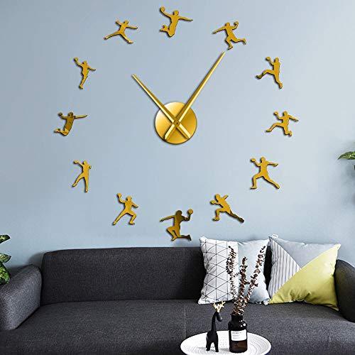 Pegatinas de espejo de silueta de acrílico para jugadores de balonmano DIY arte de pared Gigante relojes de pared decoración deportiva de balonmano entrenador regalo (oro、37 pulgadas)