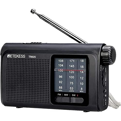 Retekess TR605 Radio Portátil FM Am SW, Radio de Bolsillo Tradicional, con Batería Recargable, Linterna de Emergencia, para Ancianos (Negro)