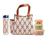 Fit & Fresh Westerly Insulated Lunch Bag Kit with Matching Bottle and Containers, Peach Teardrop Waves