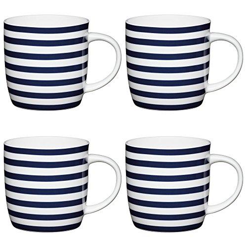 KitchenCraft Nautischer StreifenKlassische Bedruckte Fassbecher,425 ml, Porzellan, Blau/Weiß, 12.4 x 8.9 x 9 cm, 4 Einheiten