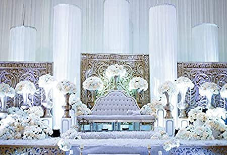 YongFoto 5x3ft Wedding Photography Backdrop Luxury Hall Floral Sofa Candle Curtain Site Background Wedding Party Ceremony Stage Scene Lovers Bride Bridegroom Portrait Photo Studio Props