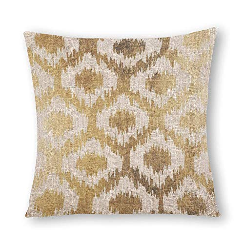 perfecone Home Improvement Cotton Pillowcase Double Modern White Handrawn Ikat Pattern Faux Gold Sofa and car Pillow case 1 Pack 19.7 x 19.7 inches/50 cm x 50 cm