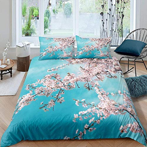 Ahooseso Blue Sky Plant Cherry Blossom Trees Nature Duvet Cover Set For Single Double Super King Size Bed 3D Printed Microfiber Bedding Sets Duvet Set With Pillowcases And Quilt Case 200 X 200 Cm