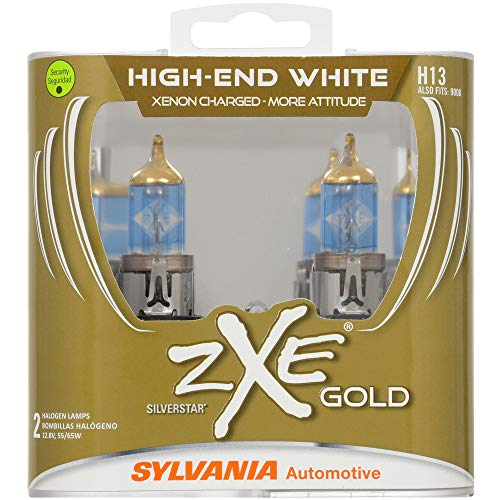 SYLVANIA - H13 (9008) SilverStar zXe GOLD High Performance Halogen Headlight Bulb - Bright White Light Output, Best HID Alternative, Xenon Charged Technology (Contains 2 Bulbs)
