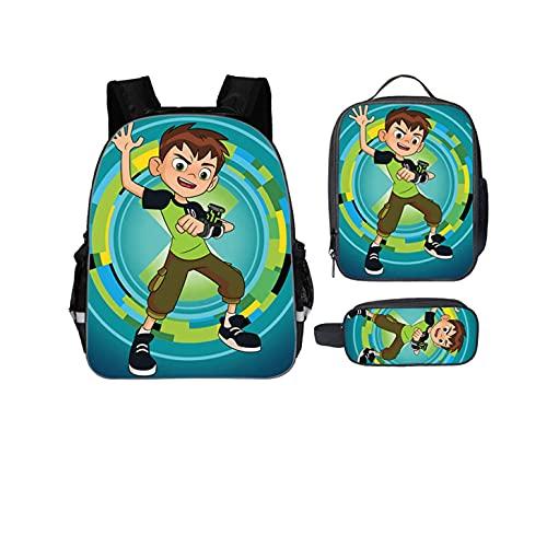 Gin-Back - Zaino per bambini Ben 10 Back to School-Zaino leggero+borsa per il pranzo impermeabile+astuccio per matite, Motivo 9, Taglia unica
