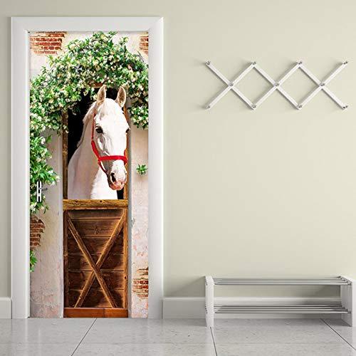 FGPXCD Türaufkleber 3D Tür Wandbild 95X215Cm Tier Weißes Pferd Grünes Weinrebenfenster 3D Türtapete Selbstklebend Türposter - Fototapete Türfolie Poster DIY Tapete Aufkleber Wandbild PVC wasserdichte
