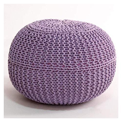 MUZIDP Creatividad DE LA INDIVISIÓN FUTON Woven FUTON, 100% algodón Taburete Redondo, para el Dormitorio de la Sala de Estar y decoración de la habitación para niños, Purple-50x30cm