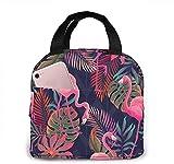 KEROTA Lonchera con aislamiento de flamenco, color rosa, bolsa de almuerzo con hojas de palma de colores, bolsa reutilizable para aperitivos