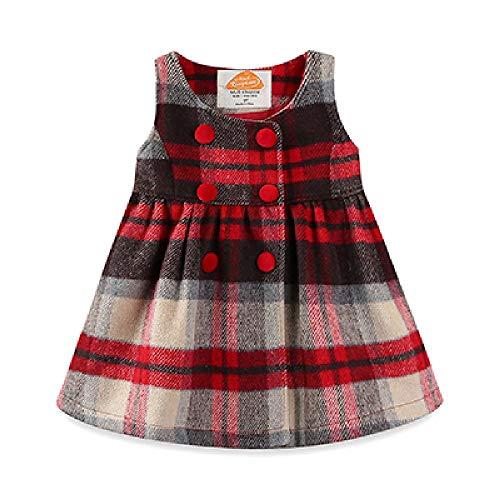Vestidos a Cuadros Rojos para niñas Vestidos de Fiesta de Princesa sin Mangas Lazo