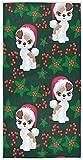 Novedad Decorativo Huésped altamente absorbente Fox Terrier multipropósito con gorro de Papá Noel Toallas de baño verde y rojo Mano para baño Hogar Hotel Gimnasio Spa Suave Grande