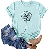 Aniywn Womens Short Sleeve Tops,Womens Loose T-Shirts Casual Printing Short Sleeves O-Neck Blouse Tops Blue