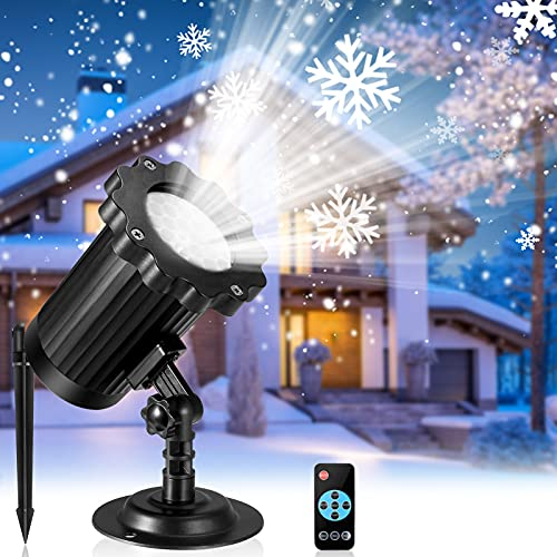 Upgraded Snowflake LED Projector Lights with Remote Control, Rotating Snowfall Projection, Indoor Outdoor Snow Falling Projector Waterproof, White Snowfall Projector Lamp for Halloween Xmas Party