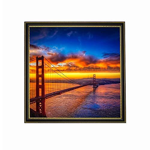 wZUN Impresiones en Lienzo, Carteles e Impresiones del Puente Golden Gate, San Francisco, Amanecer, Atardecer, Arte, Cuadros de Pared, decoración del hogar 60x60 Sin Marco
