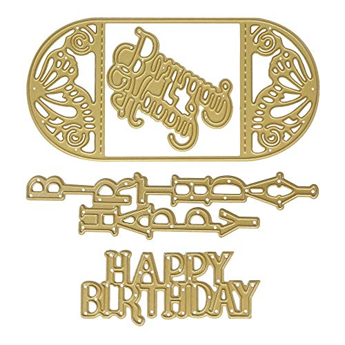 Cutting Dies Stencil Metal Template Moulds, Embossing Tool for Album Paper Card Making Scrapbooking DIY Etched Dies Craft (Golden Birthday)
