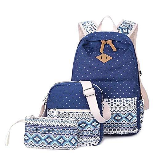 School Rugzak Tieners Bookbag Set Elegante Patroon School Tassen met Schoudertas en Potlood Case voor Laptop voor Jongens Meisjes Student Jeugd