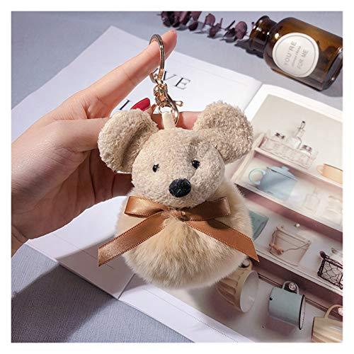 Djujiabh Peluches Llavero Felpa Linda del ratón Llavero Creativo Piel de la muñeca de la Bola Colgante Llavero Anual Regalo la decoración del Bolso del Anillo dominante (Color : 1)