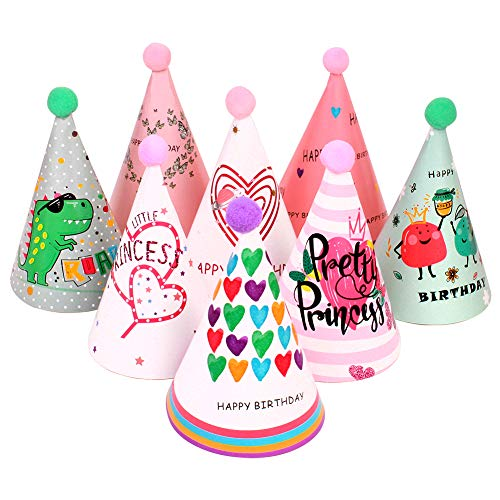 UNIMALL Pack of 16 Mixed Colors Cartoon Party Cone Hats Heart Butterfly Dinosaur Fruit Crown Funny Happy Birthday Paper Party Decoration for Kids Child Boy Girl
