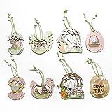 Folora Easter Egg Decorations Set , 16Pcs Coloré en Bois Suspendu Pendentif Intérieur Jardin Ornements pour Arbre
